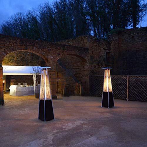 Heizpilz Gas Flamme 13kW Tube Glas Pyramidenform Heizung Außen für Terrasse + Kit Komplett Gas + Tragetasche; - 3