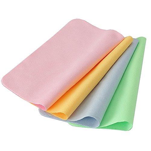 Panni per pulire in microfibra panno pulizia occhiali pelle scamosciata panni colorati per pulire cellulari tv lcd e portatili confezione da 4 panni per pulire(rosa verde blu giallo)