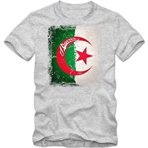 Algerien Flagge T-Shirt | Staat Algerien | Sichelmond und Stern | Grün und Weiß | Afrika | Herrenshirt © Shirt Happenz Graumeliert (Grey Melange L190)