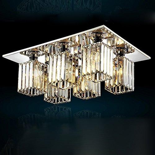 Kristall Deckenleuchte Deckenlampe Modern Luxus K9 Kristalllampe Kristallleuchter Lampenschirm Kronleuchter Leuchter Lampe Chrom Edelstahl für Schlafzimmer Wohnzimmer Esszimmer Hotel Beleuchtung, E27 , 6 Glühbirnen (6-licht Halogen-anhänger)