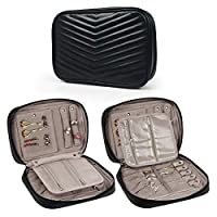 Becko Travel Jewelry Organizer Bag Case Roll Pouch (Black)
