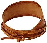 PIECES Damen Gürtel VIBS LEATHER TIE WAIST BELT, Einfarbig, Gr. 70 cm (Herstellergröße: 70), Braun (Cognac)