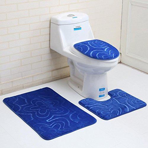 Toilettenmatte Set, Lenfesh Badezimmer Blauer Ozean Stil Sockelwolldecke + Deckel Toilettendecke + Badematte (D1) (Ozean-bett-satz)