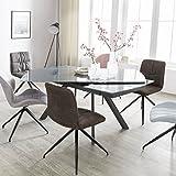Esszimmertisch NOBLE 160 - 240 cm ausziehbar dunkelgrau Metall / Glas | Tisch für Esszimmer rechteckig | Küchentisch 6 - 10 Personen | Design Esstisch