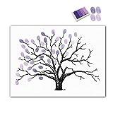 FOONEE Wasserdichte Fingerabdrücke Baum Kreative DIY Leinwand Fingerabdrücke Baum Gemälde für Hochzeit Geburtstag Party Gästebuch mit 4 Stück Stempelkissen violett