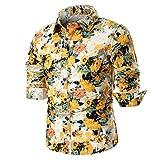 Hffan Herren Retro-Stil Langarm Slim Fit Design Hemden Leinenhemd mit Druckknöpfen Freizeithemden Herren Günstig Mode Freizeit Casual Blumenhemd Blumenmuster Bedruckt(Gelb,X-Large)