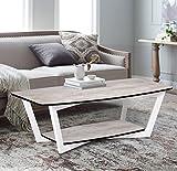 Fanilife Table basse Table d'appoint 2étagères en bois vintage Design Home Table d'appoint rétro Salon 120x 60cm...