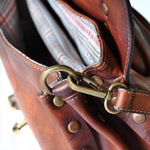 Pratesi CastellAzzara borsa a spalla in pelle (piccola) - B162/P Bruce (Cognac) Verde Scuro