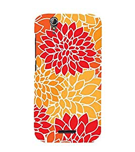 Printvisa Premium Back Cover Orange And Red Floralpattern Design For Acer Liquid Z630
