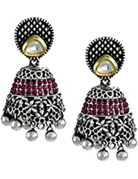 Zaveri Pearls Oxidized Silver Jhumki Earrings for Women (ZPFK5704)