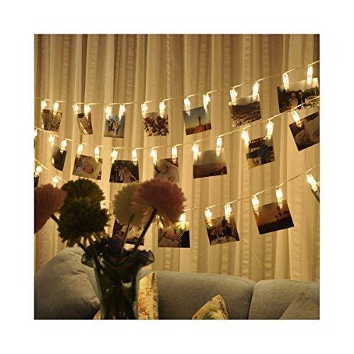 Nrpfell 50 foto clip string lights/holder, luci stringa interni per appendere foto immagini cartoline di natale, portafoto per camera da letto decorazione natalizia