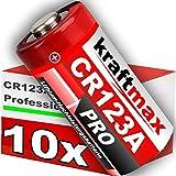 kraftmax 10er Pack CR123/CR123A Lithium Hochleistungs- Batterie für Professionelle Anwendungen - Neueste Generation
