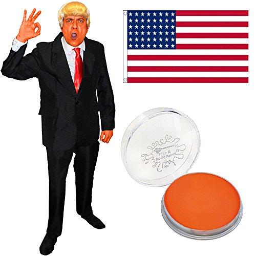 ILOVEFANCYDRESS Donald Trump KOSTÜM VERKLEIDUNG=BEINHALTET-AMERIKANISCHE Fahne+Oranges Make UP+EINE Blonde PERÜCKE+ROTEN Krawatte+Anzug=USA Fasching UND Karneval = Anzug IN Large