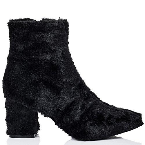 SPYLOVEBUY FOXIE Femmes Fourrure Synthétique à Talon Bloc Bottines Chaussures Noir