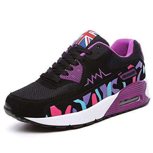 Wealsex Baskets Chaussures Jogging Course Gym Fitness Sport Lacet Sneakers Style Running Multicolore Respirante Femme noir et violet mesh
