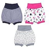 TupTam Baby Shorts Jungen Kurze Pumphose Mädchen Kinder Sommershorts 100% Baumwolle im 3er Pack, Farbe: Mädchen, Größe: 80-86