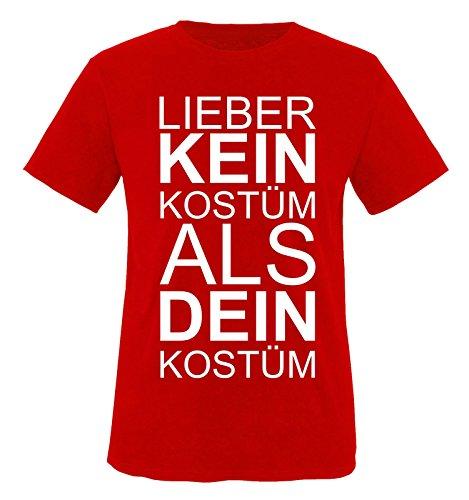 Für Frau Elf Kostüm (Comedy Shirts - Lieber KEIN Kostüm als DEIN Kostüm - Herren T-Shirt - Rot / Weiss Gr.)