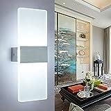 ERWEY 12W LED Wandleuchte Kaltweiß Acryl Wandlampe Modern Design Nachttischlampe Home Corner Dekorative Beleuchtung Korridor Wandbeleuchtung Nachtlicht Ideal Für Schlafzimmer