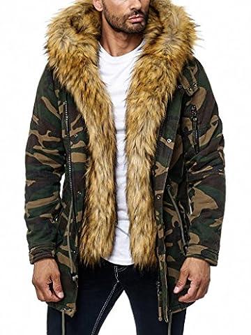 Husaria Designer Jacke Winterjacke mit Kapuze und stylischem Fell Winter Parka 9201 (S, Camouflage)