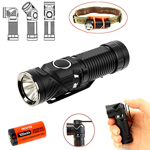 Rofis R1 EDC Taschenlampe / Stirnlampen 900 Lumen CREE XM-L2 U2 LED Multifunktionale magnetische USB wiederaufladbare verstellbare Taschenlampe/Winkellicht draussen kleine Taschenlampen/Scheinwerfer