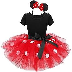 dPois Vestidos de Princesa Diadema Niña Bebé Fiesta Bautizo Tutú Ballet Danza Falda Lunares Bragas Disfraces Fantasía Carnaval Cumpleaños Infantil (6 Meses - 14 Años) Rojo 2 pc 8Años