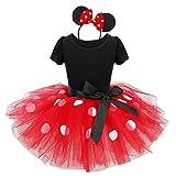 Agoky Mädchen Polka Dots Tutu Kleid mit Ohren Haarreif Kinder Fasching Karnevals Kostüm Party Outfits Verkleidung gr 80-128 rot weiß gepunktet 98/3Jahre