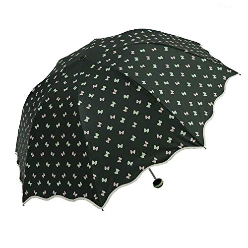 Giow Klar und Regen Dual-Use-Taschenschirm, Sonnenschutz UV-beständig, dreifach zusammenklappbar, weibliche Kompaktschirme (Farbe: Dunkelgrün)