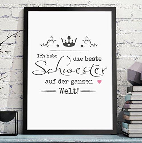 BESTE SCHWESTER / BESTER BRUDER hochwertiger Kunstdruck als persönliches und originelles Geschenk für Deine Schwester oder Deinen Bruder zum Geburtstag oder als Danksagung - Rahmen optional zubuchbar