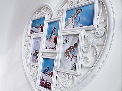 Herzförmige 6-Zoll-Fotorahmen kreative Handwerk geschnitzte dekorative Stück der Foto-Wand ,