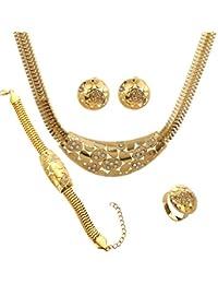 Yazilind plateó la joyería Establece cadena de la serpiente del Rhinestone pendiente del collar del anillo hueco de las mujeres de la boda