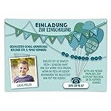 Einschulung Einladungskarten (10 Stück) erster 1. Schultag Einschulungskarten - Fahnen Girlande in Blau