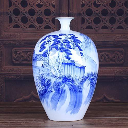 Vaso di ceramica vaso in porcellana bianca e blu - decorazioni artistiche da tavola con motivi squisiti fatti a mano - vaso per piante idroponiche collezioni ornamento o un regalo perfetto-whiteblue