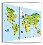 decomonkey Bilder Weltkarte 120x80 cm 3 Teilig Leinwandbilder Bild auf Leinwand Vlies Wandbild Kunstdruck Wanddeko Wand Wohnzimmer Wanddekoration Deko Tiere Kinderzimmer bunt