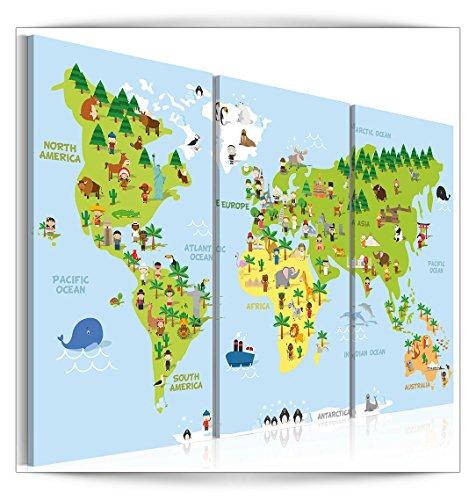 decomonkey | Bilder Weltkarte 120x80 cm 3 Teilig | Leinwandbilder | Bilder | Vlies Leinwand | Bilder | Wand | Bild auf Leinwand | Wandbild | Kunstdruck | Wanddeko | Tiere Kinderlandkarte Kinderzimmer bunt | DKB0306a3XL Kinderzimmer Tier Bilder