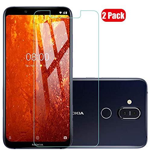 Voviqi Nokia 8.1 2018 Panzerglas, 9H verbesserte gehärtetes Glas Folie [Blasenfrei] [Anti-Fingerabdruck] Bildschirmschutzfolie für Nokia 8.1 2018, 2 Stück