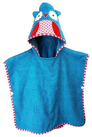SCHLUPFI Premium Kinder Badeponcho für Jungen und Mädchen aus Baumwolle (dickes Frottee) mit Kapuze (Kapuzenhandtuch) | Tierhandtuch (Eule in blau)