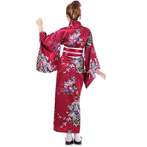 Japanischer Geisha Kimono Sakura Weinrot Satin One Size - 3