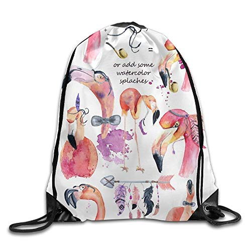 ZHIZIQIU Creat Your Own Flamingo Print Drawstring Backpack Rucksack Shoulder Bags Sport Gym Bag for Men and Women