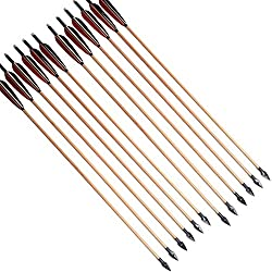 6 piezas Tiro con arco de caza Flecha de madera con punta de flecha y plumas