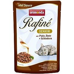 animonda Rafiné Senior Katzenfutter, Nassfutter für Katzen mit Pute, Ente und Schinken, 1er Pack (12 x 100 g)