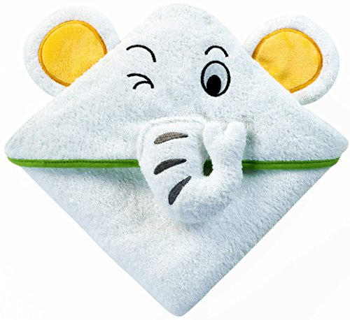 Baby Kapuzenhandtuch mit Elefant (Weiß/Grün) | 75x75 cm | Frottee Badetuch für Neugeborene, Säugling und Kleinkind | für Kinder im Bad, Pool und am Strand