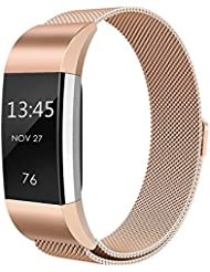 Fitbit Charge 2 Armband, einBand Milanese Schlaufe Edelstahl Armband Smart Watch Armbänder mit einzigartiger Magnetverriegelung und keine Schnalle notwendig für Fitbit Charge 2