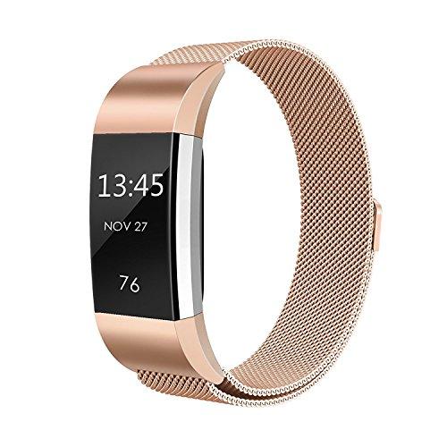 Fitbit Charge 2 Armband, einBand Milanese Schlaufe Edelstahl Armband Smart Watch Armbänder mit einzigartiger Magnetverriegelung und keine Schnalle notwendig für Fitbit Charge 2, Rose Gold, Large