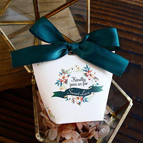 mailang Blue Ribbon Candy Box Süße Hochzeit Hand Geschenkbox 9 * 5 cm * 50 Stücke Blue Ribbon Candy