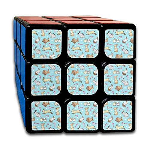 Christmas Rabbits and Candy Canes Blue Magic Speed Cubes Sets 3x3x3 Puzzles Toys Solid & Durable (56mm) (Blue Candy Cane)