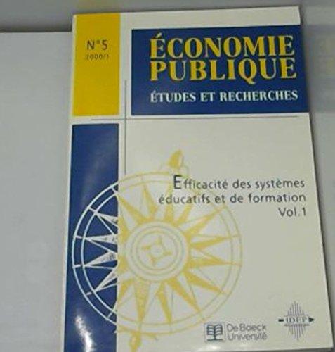 Economie publique, numéro 5, Efficacité des systèmes éducatifs et de formation