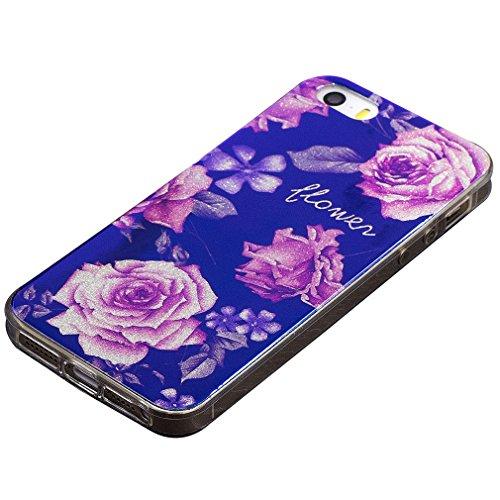 per iPhone SE/ 5S/ 5 Custodia case,Herzzer Mode Crystal Creativo Elegante lusso di Blu Glitter Bling stampato Quadro Dipinto Design shell,Ultra slim sottile morbido TPU Silicone Gel flessibile Protett rose Rosa