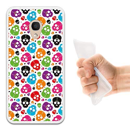 WoowCase Alcatel 1C DUAL SIM Hülle, Handyhülle Silikon für [ Alcatel 1C DUAL SIM ] Mehrfarbiger Schädel mit Herzen Handytasche Handy Cover Case Schutzhülle Flexible TPU - Transparent