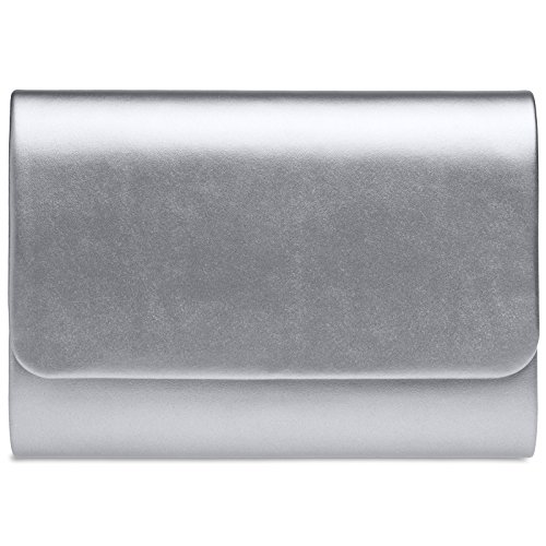 CASPAR TA411 Bolso de Mano Grande para Mujer/Clutch XL Llano Metalizado,...