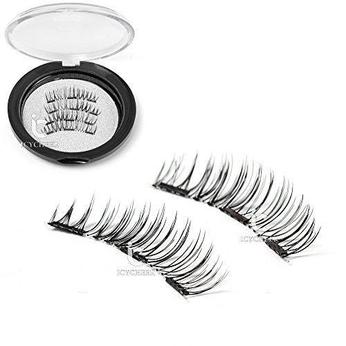 ICYCHEER nouvelle conception 3 Magents 3D cils bande complète fourrure maquillage Extension de cheveux à la main Magnetic Eye Lashes naturel Long Beauty Flase cils (4pc / paire)